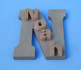 Hoofdletter en kleine letters met eigen naam van gekleurd Valchromat.
