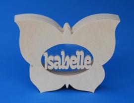 Sparbüchse Spardose Modell Schmetterling 5 mit eigenem Namen aus Holz als Mutterschaftsgeschenk.