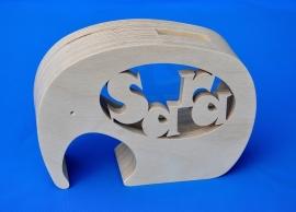 Spaarpot  hout met eigen naam model Olifant 2