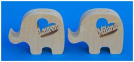 Sparbüchse Spardose Modell Elephant 3 mit eigenem Namen aus Holz als Mutterschaftsgeschenk.