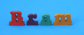 Namen letters van verschillend gekleurd 19 mm dik Valchromat.