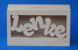 Sparbüchse Spardose Modell Tuur mit Gravieren und eigenem Namen aus Holz als Mutterschaftsgeschenk.
