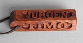 Sleutelhanger 4 zijden met eigen naam, namen art.nr, 15025 pos.