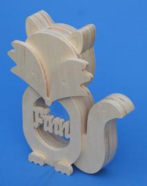 Sparbüchse Spardose Modell Fuchs mit eigenem Namen aus Holz als Mutterschaftsgeschenk.