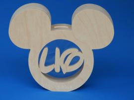 Sparbüchse Spardose Modell Maus mit eigenem Namen aus Holz als Mutterschaftsgeschenk.