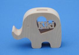 Spaarpot met eigen naam model Olifant 3 van hout.