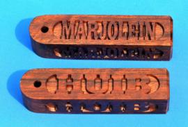 Sleutelhanger 4 zijden met eigen naam, namen art.nr, 15026 neg.