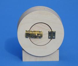 Spaarpot met eigen naam model Cirkel op console.