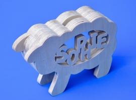 Spaarpot hout met eigen naam model Schaap.