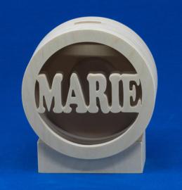 Sparbüchse Spardose Modell Kreis mit eigenem Namen aus Holz als Mutterschaftsgeschenk.