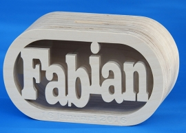 Sparbüchse Spardose Daniel XL mit eigenem Namen aus Holz als Mutterschaftsgeschenk.