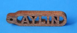 Sleutelhanger recht met ronde hoeken eigen naam. art.nr.14010