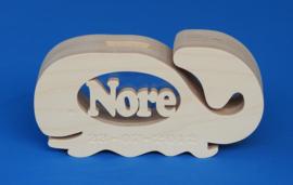 Spaarpot hout met eigen naam model walvis.