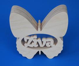 Spaarpot van hout met eigen naam model Vlinder 1.