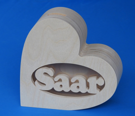 Spaarpot hout met eigen naam model Hart 2
