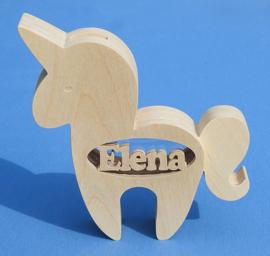Sparbüchse Spardose Modell Einhorn mit eigenem Namen aus Holz als Mutterschaftsgeschenk.