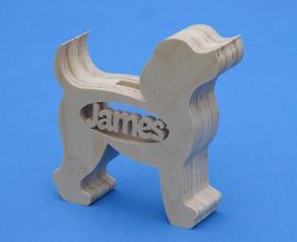 Sparbüchse Spardose Modell Hund mit eigenem Namen aus Holz als Mutterschaftsgeschenk.