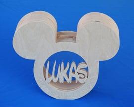 Spaarpot hout met eigen naam model Muis.