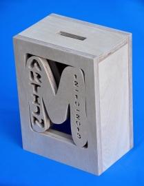 Spaarpot hout met eigen naam model MARTIJN