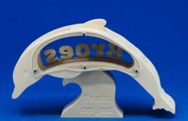 Spaarpot hout met eigen naam model Dolfijn.