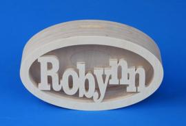 Spaarpot hout met eigen naam model Ovaal.