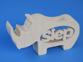 Sparbüchse Spardose Modell Nashorn mit eigenem Namen aus Holz als Mutterschaftsgeschenk.