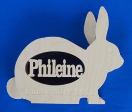 Spaarpot hout met eigen naam model konijn.
