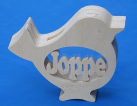Spaarpot met eigen naam model vogel 1.