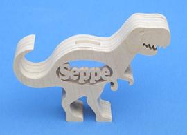 Sparbüchse Spardose Modell Dinosaurier T-rex mit eigenem Namen aus Holz als Mutterschaftsgeschenk.
