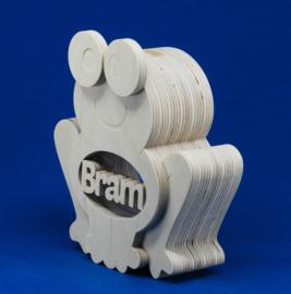 Spaarpot hout met eigen naam model kikker.
