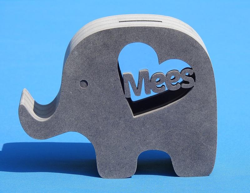 Spardose Elephant 3 mit eigenem Namen aus gefärbtem Valchromat