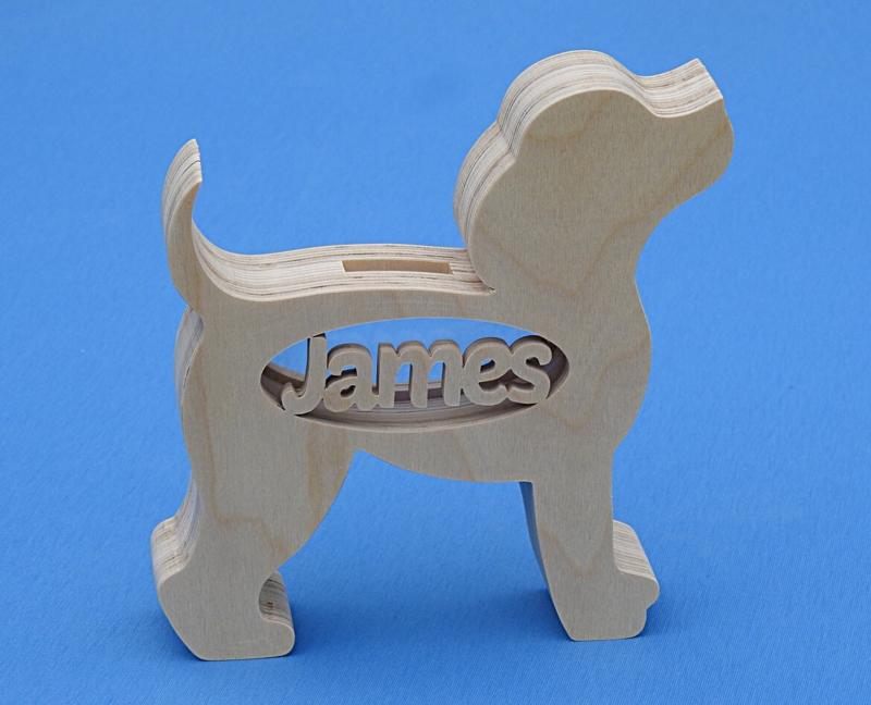Spaarpot met eigen naam model Hond.