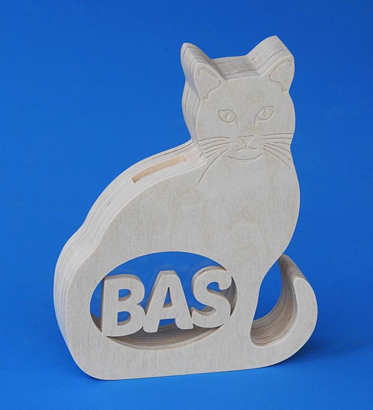 Spaarpot hout met eigen naam model kat.
