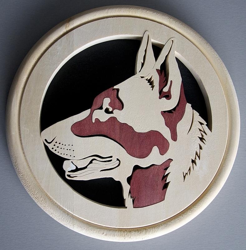 Wandbord hout herdershond