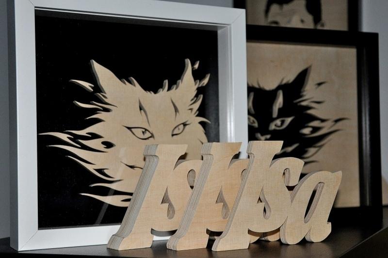 Namen en letters uit hout berkenmultiplex, afm. hoog 10 en 6 cm. 9mm dik