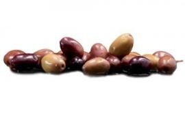 """Zwarte olijven """"Taggiasca"""" in pekel, laurier, tijm en rozemarijn. / Potje 300gram"""