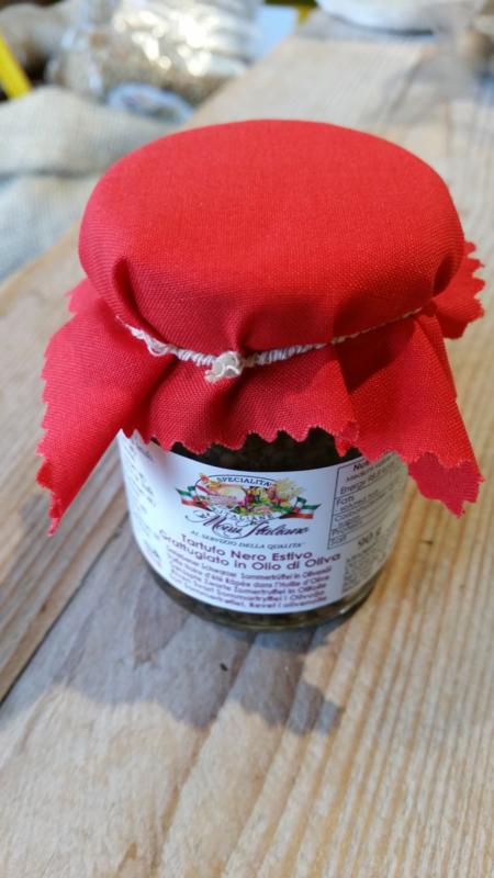 Truffel / Zwarte zomertruffel / truffel geraspt In olijfolie / Piemonte / Potje 90Gram