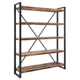 SOHOTO Boekenkast  160 x 40 x H 200 cm duurzaam Mango hout met zwart metaal frame Voor een lage actie prijs