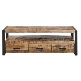 SOHOTO Tv-Meubel 150 x 45 x H 50 cm duurzaam Mango hout met zwart metaal frame Voor een lage actie prijs
