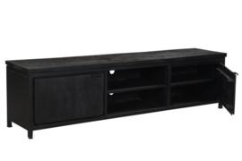 MMB014 Tv-meubel  Tv-Meubel 210 cm breed MANGO kleur zwart  met zwart metaal NU SPECIALE ACTIE PRIJS