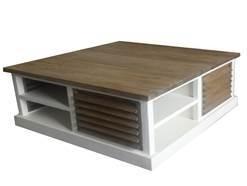 Louvre salontafel 4 kant Blad Prachtig TEAK 100 x 100 cm met wit voor de laagste prijs