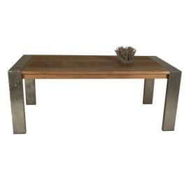 REGINA¤ Eettafel 200 cm ROBUUST Vergrijsd teak salontafel met ijzeren profielpoten