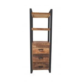 SOHOTO Boekenrek   60 cm duurzaam Mango hout met zwart metaal frame Voor een lage actie prijs
