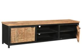 MMB014 Tv-meubel Cod  Tv-Meubel 210 cm breed MANGO NATUREL  met zwart metaal     NU SPECIALE ACTIE PRIJS