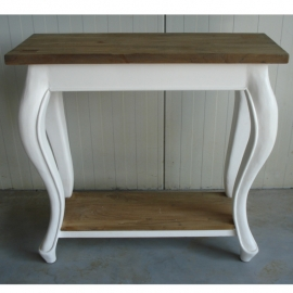 114 Side table  80 X40 cm. massief Teak Blad  met    white-wash finish      Nu extra actie