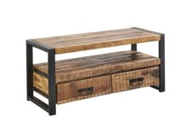 SOHOTO Tv-Meubel 110 x 45 x H 50 cm duurzaam Mango hout met zwart metaal frame Voor een lage actie prijs