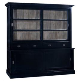 204 model 204 in  Oud zwart vitrine schuifkast met teak binnenkant Een solide kwaliteit kast