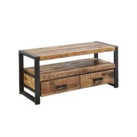 SOHOTO Tv-Meubel 110 breed  x 45 x H 50 cm duurzaam Mango hout met zwart metaal frame Voor een lage actie prijs