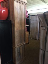 MMB008 Vitrinekast   Cabinet recyclend Teak met 1 metaaldeur 80 cm breed ..