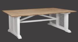 LOUVRE eettafel 220 cm. Standaard onderstel wit en blad blank Teak .NU IN DE ACTIE